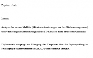 MaRisk - Diplomarbeit